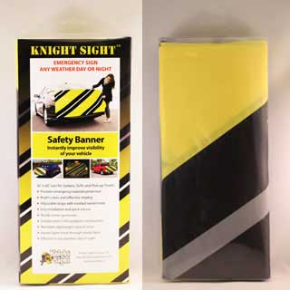 Knight Sight Safety Banner package front and Back